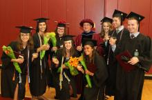 Dr. Cohen and some members of his lab group celebrate on graduation day