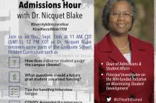 photo of Dr. Blake. and scheduling details of the twitter chat @youinthelab. Chat date scheduled for Thursday, September 16 at 11 AM CDT (GMT-5).
